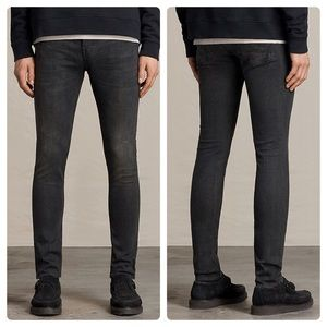 All Saints Print Cigarette Skinny Fit Jeans Black